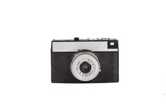 Old film camera isolated on white. Retro vintage film camera on white background Royalty Free Stock Photo