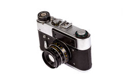 Old film camera isolated on white. Retro vintage film camera on white background Royalty Free Stock Image