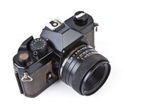 Old film camera with lens Royalty Free Stock Photography