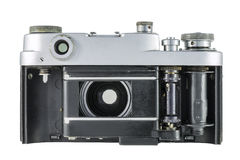 Old film camera with open shutter curtain Stock Photos