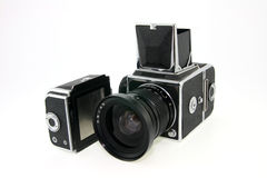 Old film camera from USSR. On white background royalty free stock photo