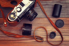 Old film camera. Vintage style.Retro toning. Stock Photo