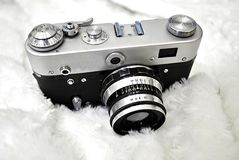 Old film camera. On white background royalty free stock photography