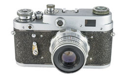 The old film camera on a white background. Front view stock photos