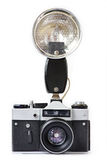 Old film cameras and flash Royalty Free Stock Photo