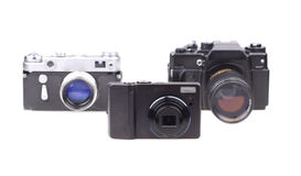 Old film cameras and the modern camera Stock Images