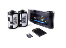 Old Film Cartridges and SD Cards Stock Photos