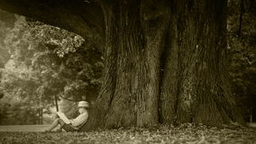 Old film effect footage: little boy sits under the tree and reads a book stock footage