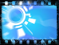 Old film frame. Old film strip, with grunge effects and hi-tech blue background vector illustration