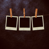 Old Film Frame Template. Old photo film blanks hanging on a rope held by clothespins Stock Photos