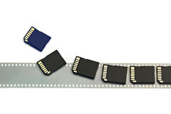 Old film and modern digital compact SD cards isolated Royalty Free Stock Image