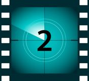 Old film movie countdown frame. Old vintage retro cinema vector timer count.  Royalty Free Stock Images
