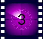 Old film movie countdown frame. Old vintage retro cinema vector timer count.  Stock Photography
