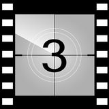 Old film movie countdown frame. Vector.  Stock Photo
