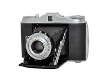 Old film photo camera - rangefinder, folding lens Royalty Free Stock Images