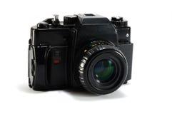 Old film photo camera on white background Royalty Free Stock Image