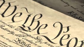 Old film Preamble to the Constitution the United States of America. Constitution of United States Historical Document - We The People Bill of Rights stock footage