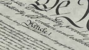 Old film Preamble to the Constitution the United States of America stock footage