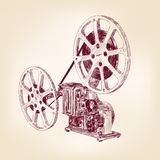 Old film projector  hand drawn. Old film projector hand drawn vector llustration Stock Images