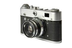 Old film rangefinder camera. Old Russian film rangefinder camera isolated on white background stock image