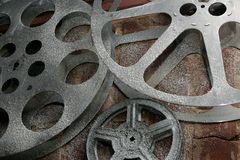 Old Film Reels. Old Reels of the Film on brick wall Stock Photography