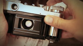 Old film reporteurs shutter mechanism work Royalty Free Stock Images