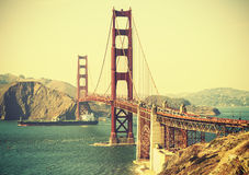 Old film retro style Golden Gate Bridge. Stock Photos