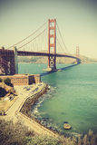 Old film retro style Golden Gate Bridge in San Francisco, USA. Stock Photo