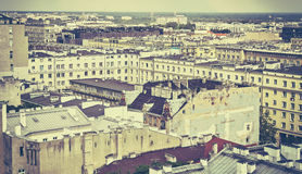 Old film retro stylized picture of Warsaw downtown. Stock Images