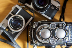 Old film SLR and TLR cameras Royalty Free Stock Photo