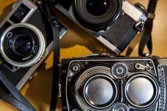 Old film SLR and TLR cameras Stock Image
