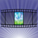 Old film strip. Colorful illustration with Old film strip  on a blue  background Royalty Free Stock Image