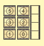 Old film strip countdown. With old film strip without numbers over yellow background. vector Royalty Free Stock Photography