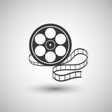 Old film strip  on a gray background. Stock Photo