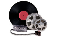Old film strip, photographic film, record. Black and white cinefilm, photo film, audio recording Royalty Free Stock Photography