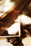 Old film strip and photos background royalty free stock photography