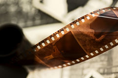 Old film strip and photos background Royalty Free Stock Images