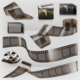 Old film strip with transparency, vector icon set Royalty Free Stock Image