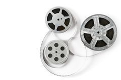 Old film strip on white background. Top view. Royalty Free Stock Photo
