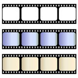 Old film strips. Three old film strips isolated in white background Royalty Free Stock Image