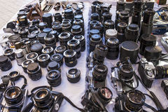 Old film and vintage cameras and lens Royalty Free Stock Images