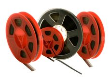 Old films on different spools Royalty Free Stock Photos