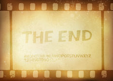 Old filmstrip. Movie ending frame. Vector illustration, EPS10 Stock Photography