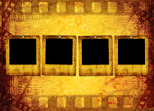 Old filmstrip on the paper. Abstract background Stock Image