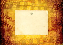 Old filmstrip on the paper Stock Photo