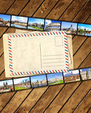 Old filmstrips and postcard. Grunge background with old filmstrips and postcard Stock Photography
