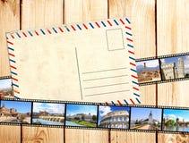Old filmstrips and postcard. Grunge background with old filmstrips and postcard Stock Photos