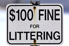 Old fine for littering sign. Close view of an old fine for littering sign with bent top and worn metal post outdoors Royalty Free Stock Photos