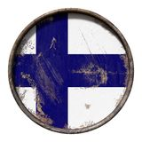 Old Finland flag. 3d rendering of a Finland flag over a rusty metallic plate. Isolated on white background Stock Photo