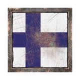 Old Finland flag. 3d rendering of a Finland flag over a rusty metallic plate wit a rusty frame. Isolated on white background Stock Photo